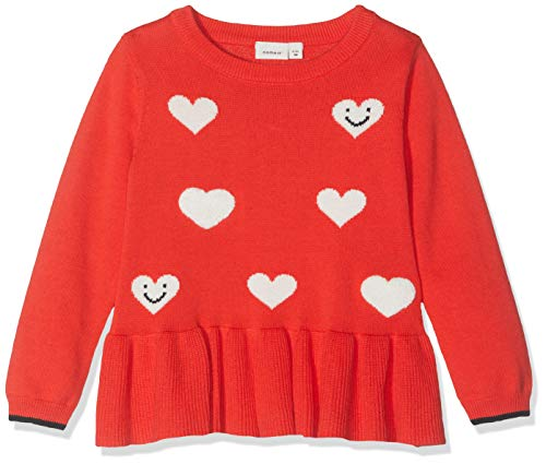 NAME IT Nmfluvifa LS Knit Box suéter, Multicolor (Poppy Red Poppy Red), 92 para Bebés