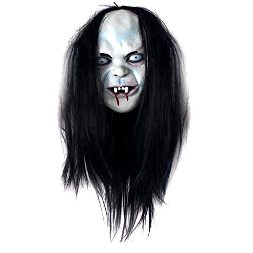 Estrella-L Halloween Horror Latex Head Grudge Sadako Mscara Peluca Larga Cabello Mueca Fantasma Toothy Zombie Creepy Scary Disfraz Mscara para Cosplay Party Supply Props Blanco