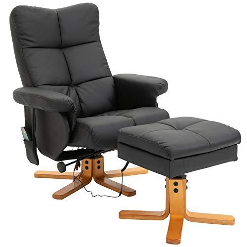 HOMCOM Massagesessel mit Fußhocker Relaxsessel Heizfunktion 145°-Neigung PU Schwarz 80 x 86 x 99 cm