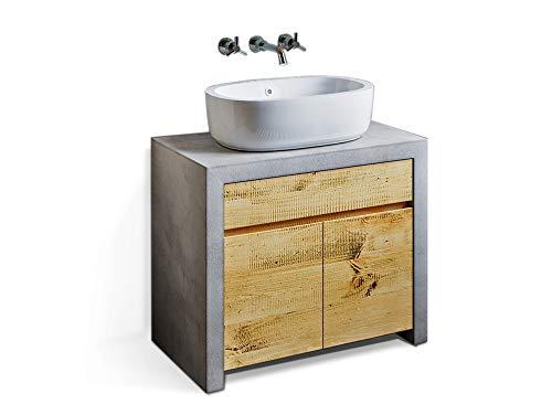 moebel-eins GLAY Waschbeckenunterschrank II, Material Massivholz, Beton/Pinie