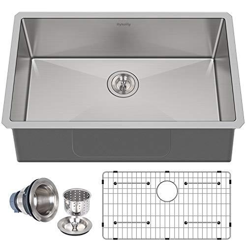 Hykolity 32 inch Kitchen Sink, 16 Gauge Undermount Single Bowl Stainless Steel with Strainer & Bottom Grid
