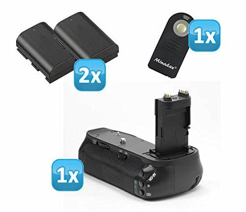 Impulsfoto professionele batterijgreep compatibel met Canon EOS 6D vervanging voor BG-E13 - voor 2X LP-E6 en 6X AA batterijen + 2 LP-E6 replica batterijen + 1x infrarood afstandsbediening!