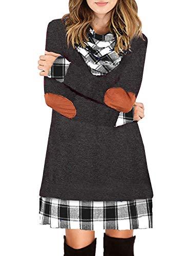 Ancapelion Damen Langarm Minikleid Kariertes Kleid Rollkragen Strickkleid A-Linie Sweater Herbstkleid Lose Kleider Pullover Kleid für Winter Herbst, Grau-1, S