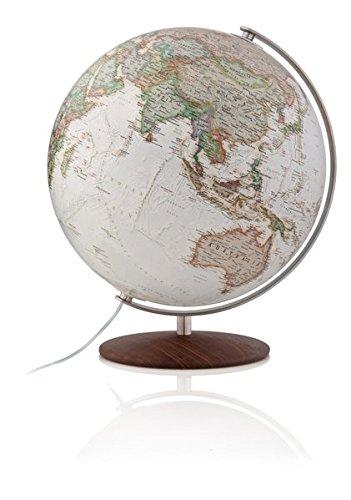 National Geographic Fusion 3701 executive: Leuchtglobus im Antikdesign, 37 cm, handkaschiert, Edelstahlmeridian, Echtholzfuß Thermoesche (Alter Globus)