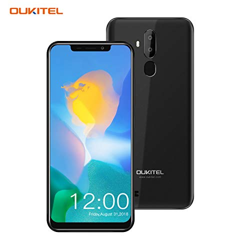 OUKITEL C12 Android Smartphones,6.18'(19:9) Full-Screen Display,2GB +16GB,Android 8.1OS Unlocked Cellphones,8MP+2MP Cameras,Dual SIM,Face Fingerprint Recognition Smartphone Global 3G Unlocked-Black