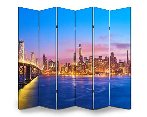 Wood Screen Room Divider san francisco skyline at sunset, california, usa pink clouds stock Folding Screen Canvas Privacy Partition Panels Dual-Sided Wall Divider Indoor Display Shelves 6 Panels
