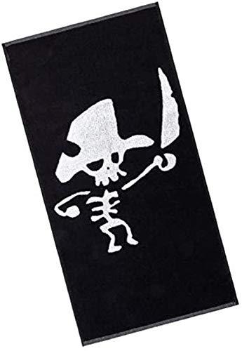 Piraten Handtuch Kinderhandtuch Logo in schwarzweiß Baumwollhandtuch 70 x 140 cm