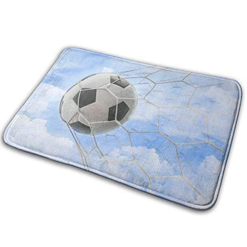 N\A Balón de fútbol en la portería con Cielo Nublado Alfombras de Puerta Antideslizantes Alfombra de Entrada para Puerta Delantera Alfombra de Zapatos Alfombra Lavable a máquina
