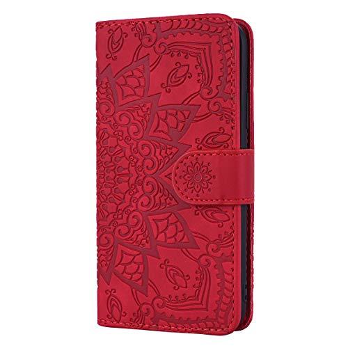 Cover Xiaomi Redmi 4X/Redmi 4 Custodia Cover in Pelle con Interno TPU Antiurto [Garanzia di Vita], Supporto Stand, Carta Fessura e Flip Wallet Case per Xiaomi Redmi 4X/Redmi 4 - TTHF010459 Rosso