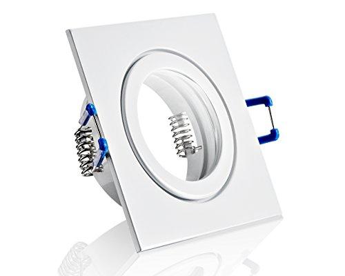 IP44 Alu- Einbaustrahler Für Feuchtraum Badezimmer Weiß Eckig Klickverschluß Glasabdeckung Ideal Für MR16/GU10 Led