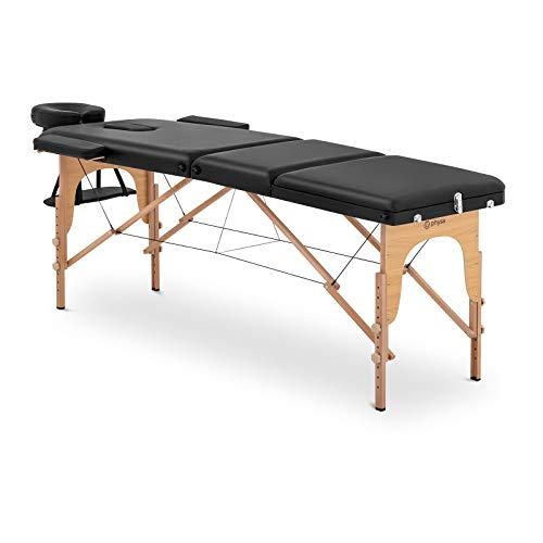 physa Camilla De Masaje Plegable Maleta Para Estética PHYSA MARSEILLE BLACK (Altura de camilla: 60-85 cm, Tapicería de PVC, Estructura en madera de haya)