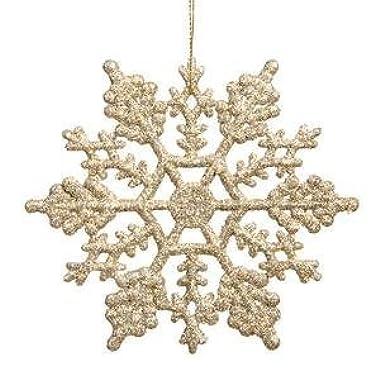 Zehui 4 Inch Glitter Plastic Snowflake 24 Per Box Champagne