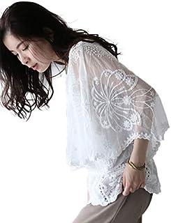 [フレンチパヴェ] フラワー 刺繍 ゆったり カットソー Tシャツ 長袖 レディース