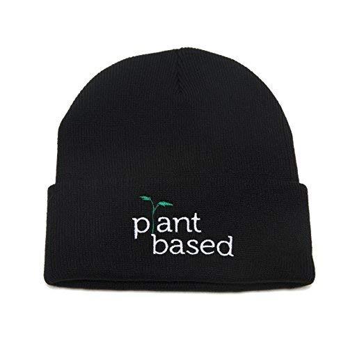 Plant Based Beanie Embroidered Winter Hat Men Women Warm Knit Cuff Cap Black