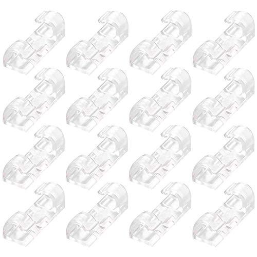 YOFASEN Clips de Cable Autoadhesivo - Organizador de Cable para USB/TV/Cargador, Transparente, L (16piezas)