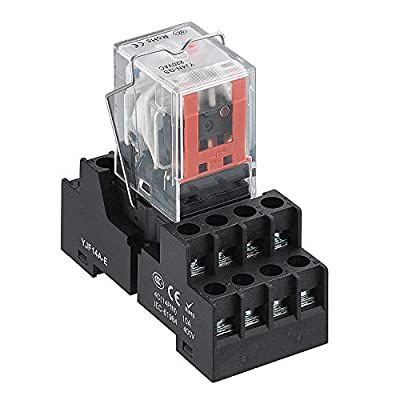 APIELE [ 3 Year Warranty] 24V DC Electromagnetic Power Relay MY4NJ HH53P Coil 4PDT 4NO+4NC 14 Pins 5A with Indicator Light With Base (24V DC)