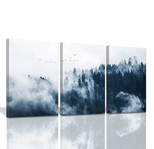 Indigo Misty Forests Wall Pictures for Bedroom Modern 3 Pieces Canvas Wall Art Mountain Forest in Fog Navy Blue Wall Decorations Minimalist Canvas Art Evergreen Coniferous Trees Gallery Wrapped