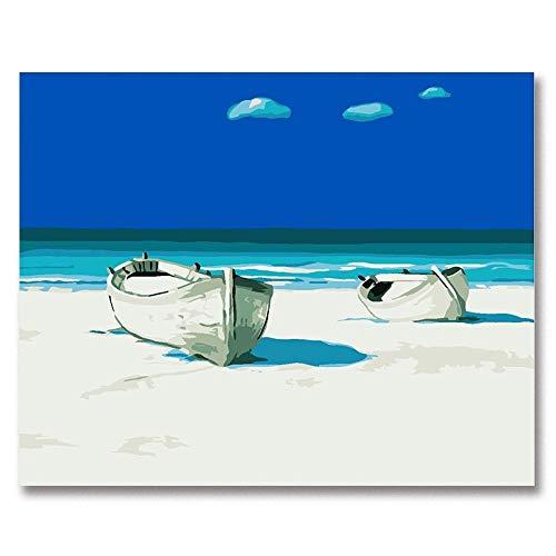 Xhzzdhbc Pintar Por Numeros Pintura Digital Arte Pintura Digital Cielo Azul Barco Verano Playa Paisaje Marino Bricolaje Pintura Al Óleo Digital Cuadro Dibujado A Mano Pared Con marco 40X50Cm