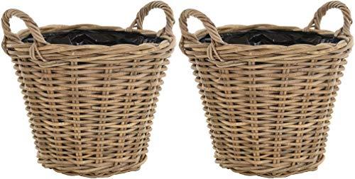 Set / 2 Rattan Pflanzkorb Grau Rund Übertopf geflochten mit Griffen Garten Pflanzen Deko-Korb Bepflanzen (Ø38 H 30 mit Folie)