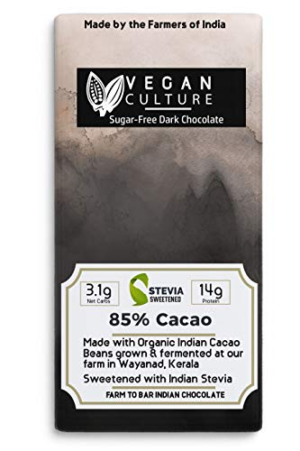 Nepenthe Coffee and Chocolates Keto Culture - 85% Dark Cacao Dark Chocolate (Super Food)(Mysore Unsweetened), Hormone-Free, Lactose Free, Whey Protein Isolate - Low in Carbs, 60 g
