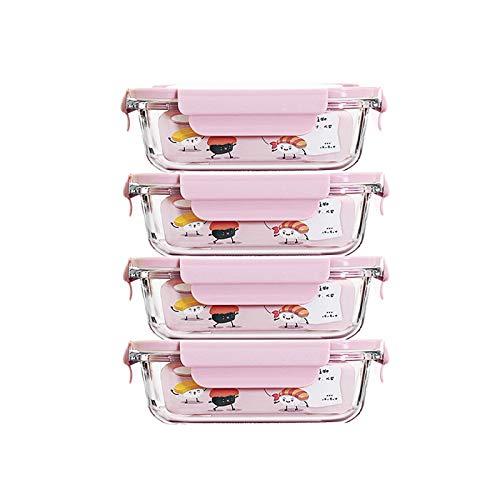 Caja De Almacenamiento De Alimentos 4 Recipientes De Vidrio Para Preparación De Catering, Caja De Conservación De Frutas De 450 Ml, Sellados Y A Prueba De Fugas ( Color : Clear , Size : 12.6x8.5x4cm )