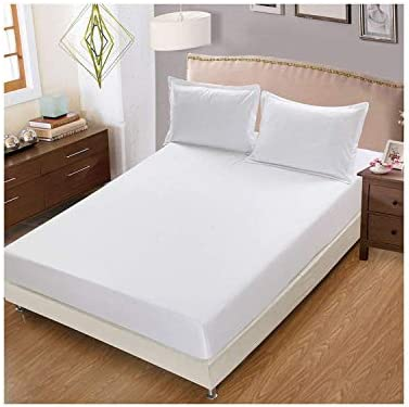 100% Egyptian Cotton 3 PCs Fitted Sheet Set 10 inch Deep Pocket 1000 TC Solid Pattern Size Queen Color White