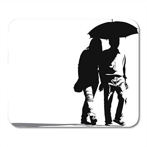 Mauspad silhouette des paares, Das regenschirm auf romantischem reiseferien-mauspad für notebooks, Desktop-computer-mausmatten, Büromaterial hält