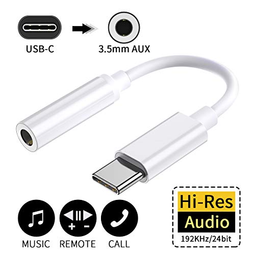 USB C auf 3,5 mm Kopfhörer Adapter USB c Klinke Adapter USB Type c 3.5mm für Huawei Mate 10 Pro/P20/P20 Pro/P30 Pro,Google Pixel 2/2 XL,Samsung-Weiß