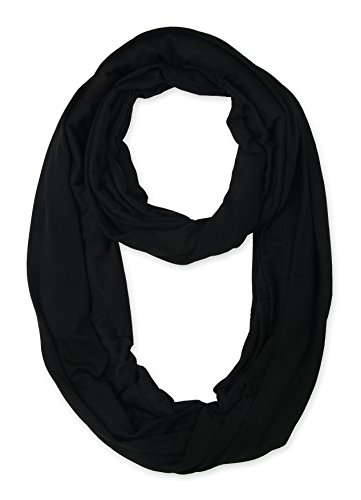 corciova Light Weight Infinity Scarf with Solid Colors Black