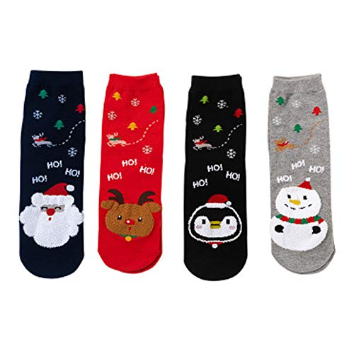 AUEDC 4 Paar Weihnachtssocken Lustige Bunte Cartoon Slipper Socken Schneemann Elch Weihnachtsmann Warm Cute Middle Tube Warme Socke
