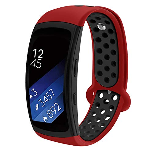 Compatible Samsung Gear Fit2 /Fit2 Pro Band,Soft Silicone Replacement Strap Sport Band Bracelet Wristband Samsung Fit2 SM-R360 /Fit 2 Pro SM-R365 SmartWatch Fitness (red/Black)
