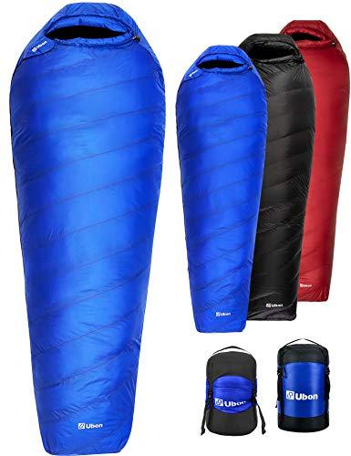 Ubon Extreme 15 Degree F 650 Fill Power Down Sleeping Bag for Adults with ClusterLoft Base, Lightweight Waterproof Mummy Sleeping...