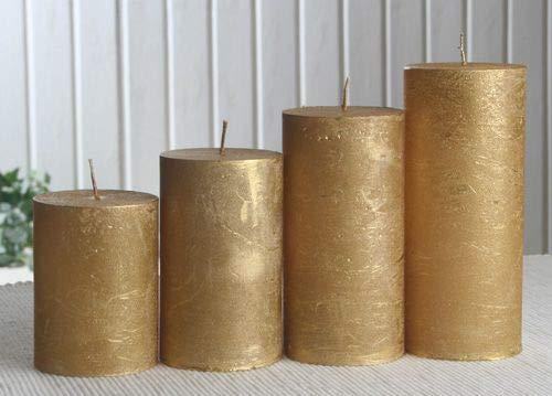 Rustik-Stumpenkerzen-Adventsset, mittel, 6 cm Ø, Gold-metallic