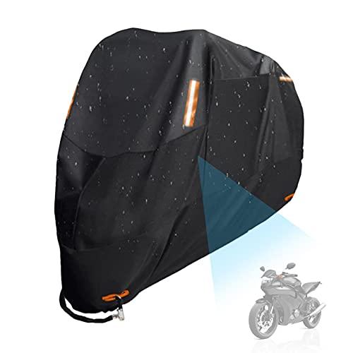 ORTUH Funda para Moto, Revestimiento De Poliuretano Impermeable De Poliéster 300D, Funda para Scooter para Moto Al Aire Libre con Bolsa De Almacenamiento con Orificios De Bloqueo, XXL