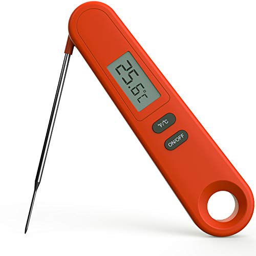 TINOLA Digital Instant Read Meat Thermometer for Meat Poultry Fish Cooking in Frying Pan Smoker Oven BBQ Grill Candy Thermometer (Orange)