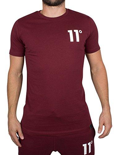 11 Degrees Hombre Logotipo básico de la Camiseta, Rojo