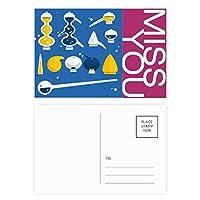 スポイトのゴムのドロッパーの化学 ポストカードセットサンクスカード郵送側20個ミス