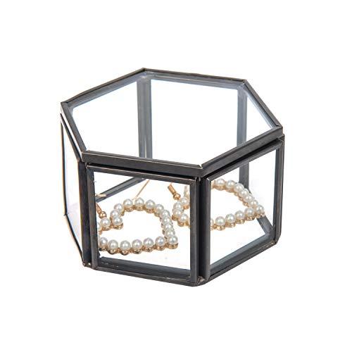 Feyarl Schmuckschatulle Glas, Geometrisches Glas Terrarium Box Ring Box Glas für Ohrringe Blume Sukkulente Pflanzgef Deko