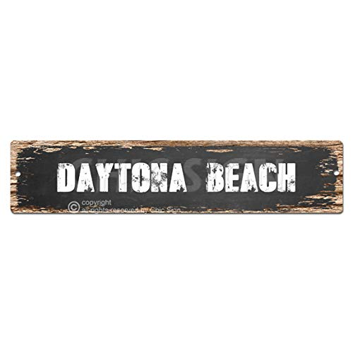 DAYTONA BEACH Plate Sign Vintage Rustic Street Sign Beach Bar Pub Cafe Restaurant shop Home Room Wall Door Decor sign