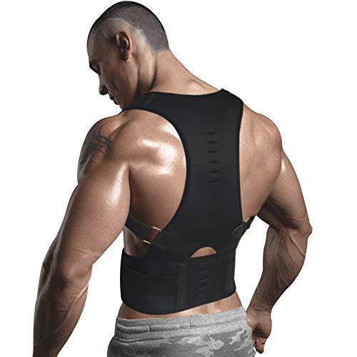 10 Magnets Back Braces for Back Pain - Best Fully Adjustable Posture Corrector for Men & Women - Improves Posture and 2 Steel Bone Provides Lumbar Support (Black, Large)