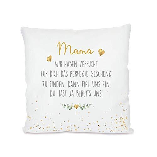 """Manufaktur Liebevoll I Kissen """"Mama, wir haben versucht I Geschenk für die Mama, Mutter I Besondere Geschenkidee als Dankeschön, zum Geburtstag und zu Weihnachten I 40x40 cm"""