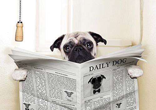 Puzzle 1000 piezas Animal Perro Leyendo Periódico Divertido Perro Aseo Arte Baño Imagen puzzle 1000 piezas adultos Juego de habilidad para toda la familia, colorido juego de u50x75cm(20x30inch)