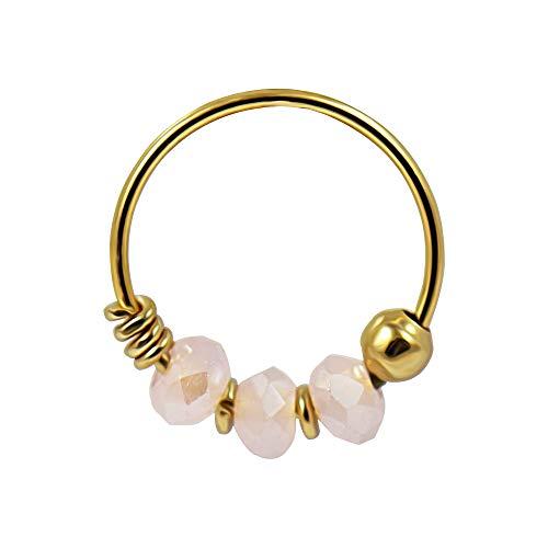9K Solid Gelb Gold Triple rosa Jade Kristall Perle 22 Gauge Hoop Nase Piercing Ring Schmuck