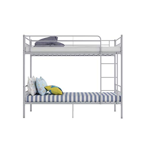 Double Bed Kids Bunk Beds 3FT Single Bed Children Metal Bed Frame With Stairs (Silver)