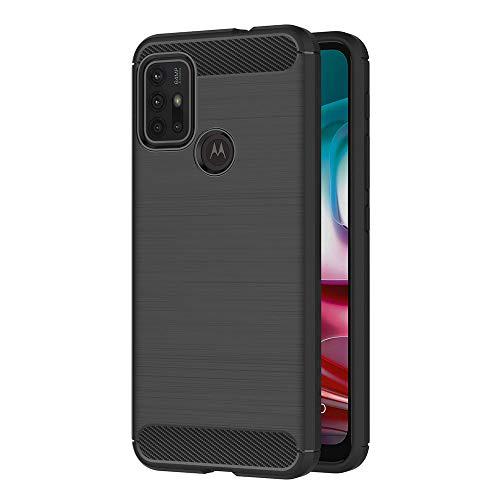 AICEK Funda Compatible Moto G10 / Moto G30, Negro Silicona Fundas para Motorola Moto G10 Carcasa Moto G30 Fibra de Carbono Funda Case (6,5 Pulgadas)