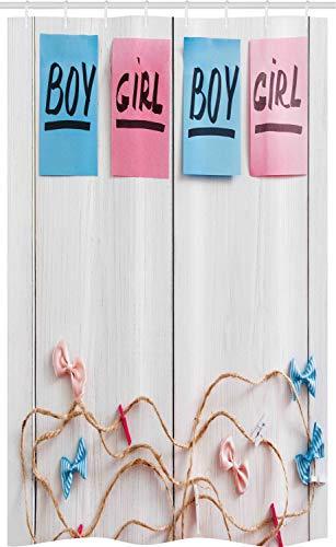 ABAKUHAUS Gender Reveal Douchegordijn, Stickers Garland Wood, voor Douchecabine Stoffen Badkamer Decoratie Set met Ophangringen, 120 x 180 cm, Veelkleurig