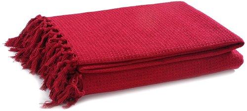 EliteHomeCollection - Colcha (254 x 279cm, 100% algodón), Color Rojo