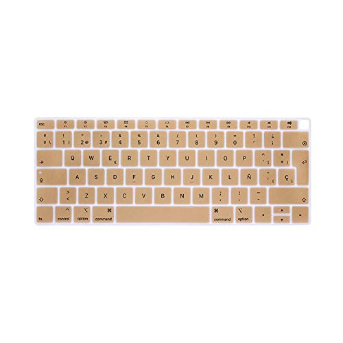 EU-Enter Spanish or Chile Keyboard case Protector For MacBook air 13 keyboard cover spanish Model A1932 Silicone protective film-Gold-
