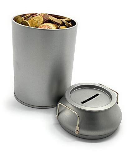 Perfekto24 Spardose im Milchkannen Design - Silberne runde Sparbüchse - Gelddose 8,6 x 14cm