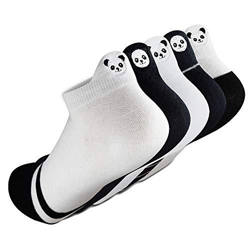 SUNWIND 5 Paar Damensocken Süße Cartoon Socken Niedliche Knöchelsocken Damen Sneaker Socken Stickerei Socken Mit Smiley Gesicht, EU36-40 (Schwarz/Weiß Panda)